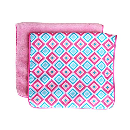 Caden Lane Ikat Collection Burp Set, Diamond Pink, 2-Count