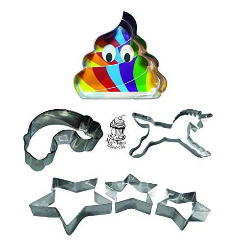 Unicorn Party Baketime Fun Set With 6 Unique Cookie Cutters Including Unicorn, Rainbow Poop, Rainbow Cloud & Cascading Stars