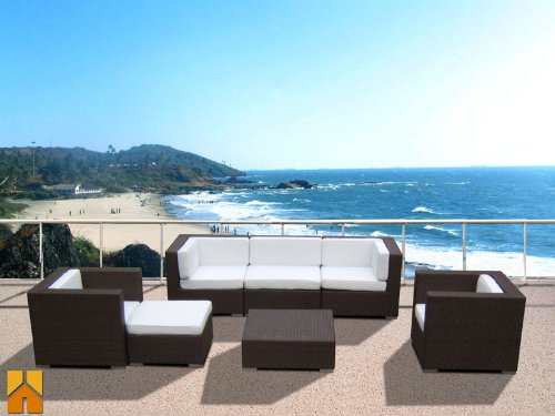 Outdoor PE Resin Wicker Patio Furniture All Weather 7pc Vila Deep Seating New Sectional Sofa Set