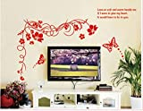 Red Flowers and Butterfly Flying Home Decal Wall Stickers