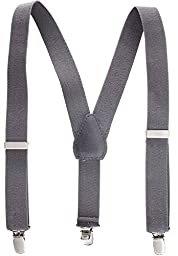 Solid Color Kids and Baby Elastic Adjustable Suspenders - Grey (22\