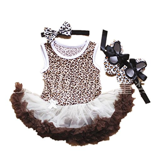 Flowerbb Baby Girl's Leopard Print First Birthday Tutu Dress Bodysuit Headband S05