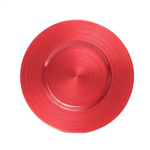 Koyal Wholesale Ripple Glass 4 Count Charger Plates, Coral front-499286