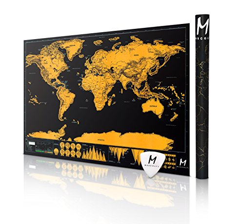 The NOMAD Progressive World Traveler Map w/ Gift Case! Travel More, Scratch Off The Map, And Relive Your Adventures. Available in Black or White! (34.65 X 20.47, BLACK) (World Map Poster Small compare prices)