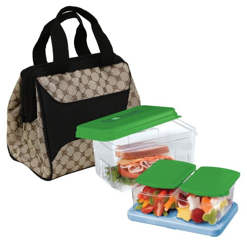 Fit & Fresh Downtown Insulated Designer Lunch Kit, Cocoa, 9x6x8 Inches - 1