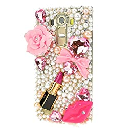 LG Optimus Zone 3 Case, Sense-TE Luxurious Crystal 3D Handmade Sparkle Diamond Rhinestone Clear Cover with Retro Bowknot Anti Dust Plug - Big Rose Flowers Sexy Lips Lipstick / Pink