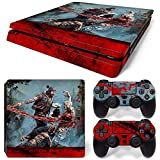 ZOOMHITSKINS PS4 Slim Skin Decal Sticker Horror Blood Zombie Attack Custom Design + 2 Controller Skins Set