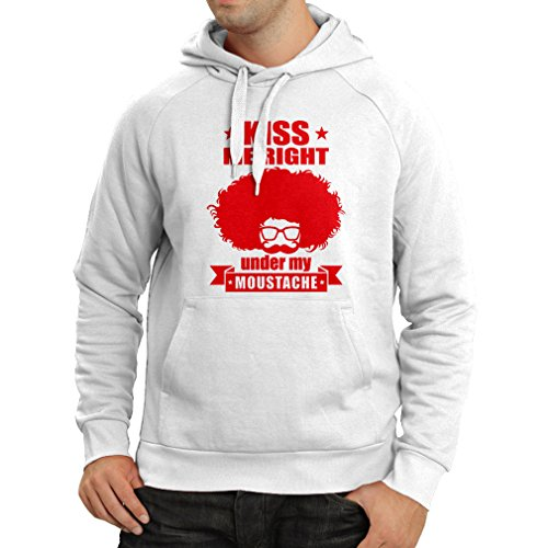 N4268H Hoodie Kiss me right under my mustache (Small White Red)
