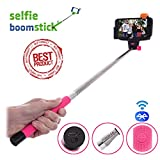 Selfie Boom Stick© Monopod - Bluetooth Wireless Remote Handheld Extendable Pole - Integrated Camera Shutter for Self Portrait - Adjustable Phone Holder - Suits Iphone 6 6+ 5 5s 4 4s Samsung Galaxy S5 S4 S3 - 60 Day Product Guarantee (Pink)