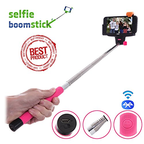 Selfie Stick Monopod - Wireless Handheld Extendable Telescopic Pole - Integrated Bluetooth Camera Shutter For Self-Portrait - Universal Adjustable Phone Mount Holder - Suits Iphone 5 5S 5C 4 4S Samsung S4 S3 - Compatible With Ios 4.0 Android 3.0 (Colour -