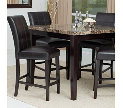 Counter Height Dining Table Set, Contemporary-style Solid Wood with Marble Tabletop Dining Room Set - 5-piece
