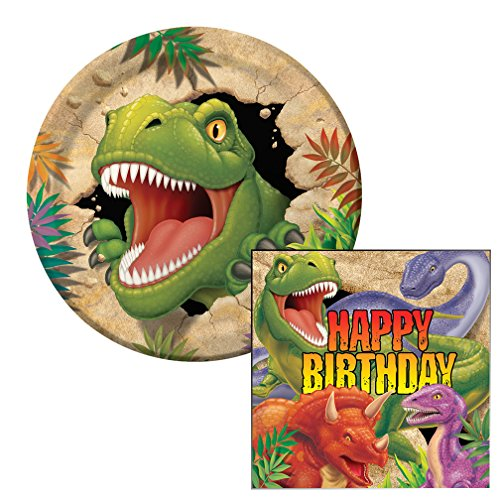 Dino Blast Birthday Lunch Napkins & Plates Party Kit for 8