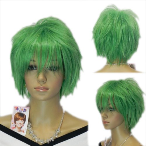 Yazilind Short Bright Green Straight Punk Spiky Cosplay