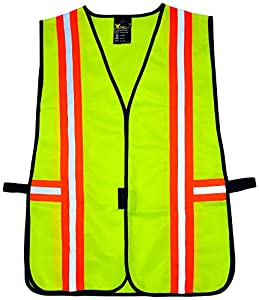 G & F 41112 Industrial Safety Vest with Reflective Strips, Neon Lime Green