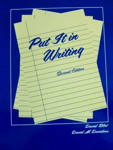 Put It in Writing: Writing Activities for Students of Esl