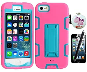 XYUN TM Armor Shell Robot Series Hybrid Combo Case with Kickstand Protective Case for Apple iPhone 5 5G 5S (not fit iPhone 5C) with free a XYUN Mobile Phone Cleaner Dust Plug Gift , a Front Screen Protector and a Long Stylus - Blue / Hot Pink kickstand fr