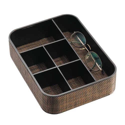 InterDesign Twillo 6-Section Stacking Divided Tray, Bronze