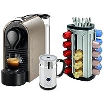 Nespresso U C50 Pure Grey Espresso Machine with Aeroccino Milk Frother and Bonus 30 Capsule Carousel