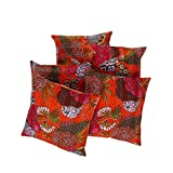 Rajrang Sofa Décor Cushions Indian Fruit Printed 16 By 16 Inches Set 5 Pcs