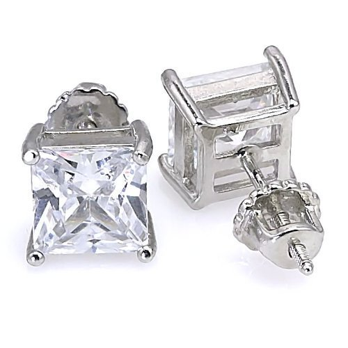 1000 Jewels Women's Kara: 10mm, 12.0Ct Princess Cut Ice On Fire CZ Screw Back Stud Earrings 925 Sterling Silver, 3130A