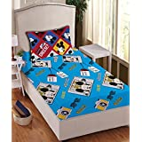 Disney- Athom Trendz- Mickey Mouse Cotton Single Bed Sheet Set- Blue