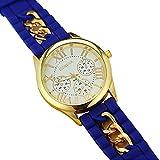Mujer cuarzo reloj de la jalea dorado silicona reloj para Hombres Unisex negro Navidad feliz cumplea�os regalo - ofertas studyingstore Blue A