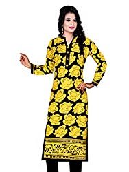 Spangel Fashion Yellow Colour Choice Women's Cotton Stitched Kurti (Yellow, Large)