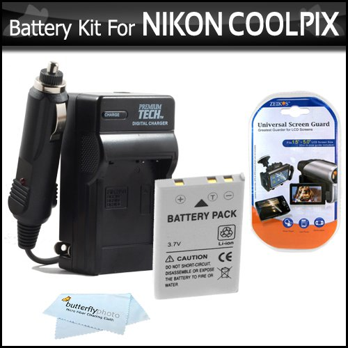 Battery And Charger Kit For Nikon P100 P500 Digital Camera Includes Extended (1100 Mah) Replacement Nikon EN-EL5 Battery + AC/DC Rapid Charger + LCD Screen Protectors + ButterflyPhoto MicroFiber Cleaning Cloth