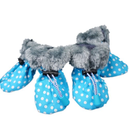 Fashion Faux Fur Non-Skid Dog Boots Dog Shoes Warm Dog Rain Boots Waterproof Dog Rain Shoes Pet Boots Free Shipping,Sea Blue,#3