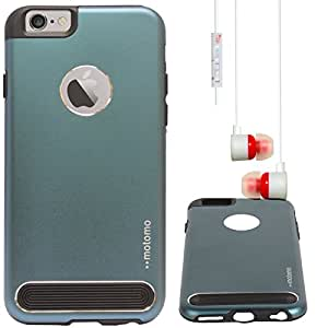"""DMG Motomo Ultra Tough Metal Shell Case with Side TPU Protection for Apple iPhone 6 (4.7"""") (Gun Metal) + White Stereo Earphone with Mic and Volume Control"""