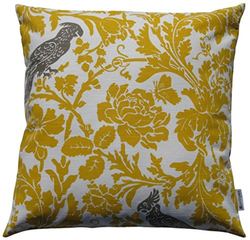 JinStyles® Cotton Canvas Parrot Accent Decorative Throw/Toss Pillow Cover (Yellow & White, Square, 1 Cover for 18 x 18 Inserts)