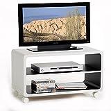 TV-Rack-Beistelltisch-Lowboard-Couchtisch-Wohnzimmertisch-MIAMI-1-Regalboden-4-Doppelrollen-in-weischwarz