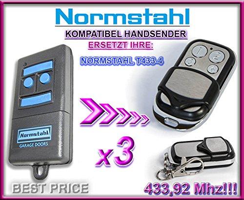 3 X NORMSTAHL T433-4 Kompatibel Handsender, 433.92Mhz rolling code keyfob