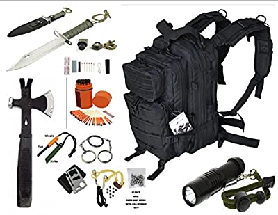 Vas Black Ops Survival Gear Combo, 17ö Bug Out Backpack Survival Hatchet, 15n1 Survival Knife, Sling Shot & Survival Essentials #247