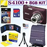 Nikon Coolpix S4100 14 MP Digital Camera (Plum) + 8GB Accessory Kit