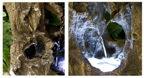 Fontaine Cascade sur Tronc d'Arbre avec Lumières