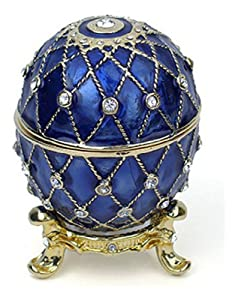 Pricegems Gold Plated Ladies Swarovski Crystal 'Bejeweled' Lattice Cobalt Blue Enameled Faberge Style Egg Hinged Trinket Box