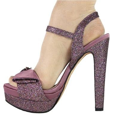 High-Heels-Sandaletten: High Heels Sandalette Stiletto Plateau im Italy Design Satin Glitzer 15 cm pink