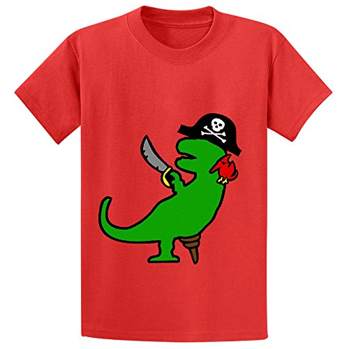 Pirate Dinosaur T Rex Child Crew Neck Short Sleeve T Shirt Red