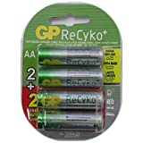 GP Recyko AA NiMH Pre-Charged Rechargable 1.2v 2100mAh 2 Batteries + 2 Free Total of 4 Batteries (Color: green, Tamaño: 2100mAh)