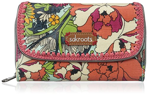 Sakroots Artist Circle Xl Wallet, Seafoam Flower Power, One Size