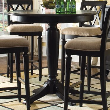 American Drew Camden Black Bar Height Pedestal Table