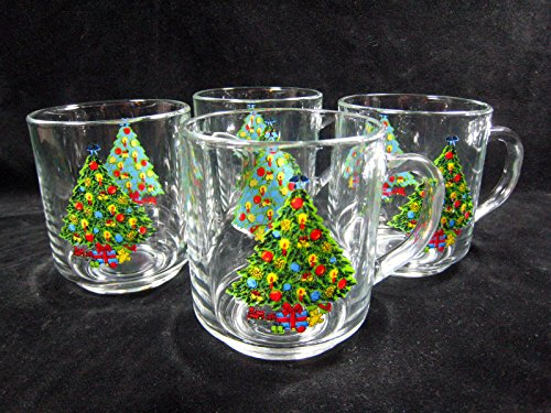 Vintage Luminarc Christmas Treasure By Carlton Glass Mug Cup - Set of 4 (Luminarc Coffee Cup compare prices)