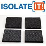 "Isolate It: Sorbothane Vibration Isolation Reinforced Heavy Duty Square Pad (2.5"" x 2.5"" x 1/4"" Thick) - 4 Pack"