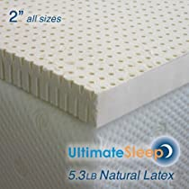 Big Sale Standard King - 2 Inch Natural Latex Foam Mattress Pad Topper - Medium Firm
