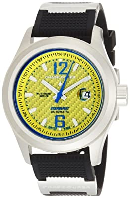 Chase-Durer Men's 990.2YL-RUBB Starburst Automatic Yellow Carbon Fiber Dial Watch