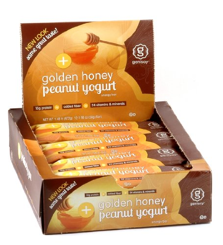 Genisoy Soy Protein Bars, Creamy Peanut Yogurt, 1.98-Ounce Bars 12-Count Boxes