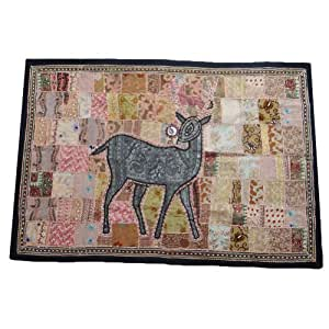 """Peach Tapestry Animal Print Patchwork Home Decor Wall Hanging Handmade Indian Table Runner Gift 62"""" X 42"""" Inches"""