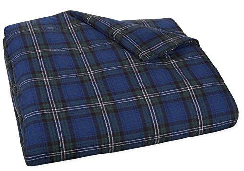 Why Choose AmazonBasics Yarn-Dyed Lightweight Flannel Duvet Cover - King, Blackwatch Plaid