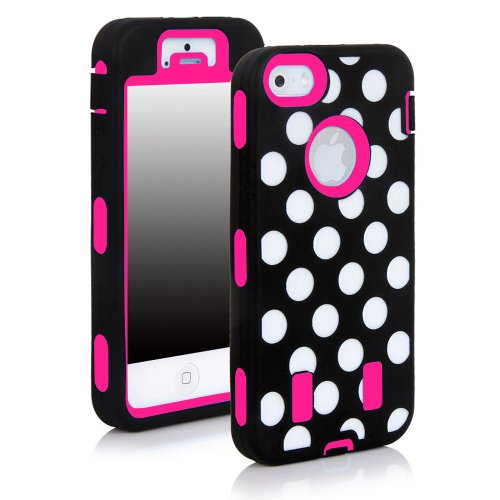 Best  Meaci® Apple Iphone 5c Hard Case Spot Stripes 3in1 Combo Hybrid Defender High Impact Body Armorbox Pc&silicone Material (Spot&hot Pink)